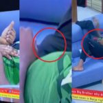 BBNaija Housemate Nelson Stylishly Covers His Erection After His Love Interest Esther Places Her Hand On Him (Video)
